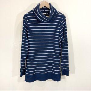 LL Bean Navy White Striped Turtleneck Tunic Sweater Large